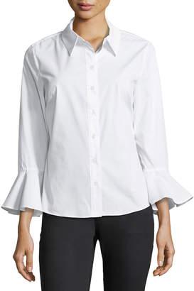 Joan Vass Bell-Cuffed Poplin Button-Front Blouse
