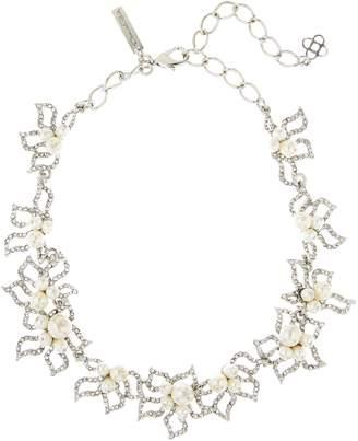 Oscar de la Renta Pave Petal Collar Necklace with Imitation Pearl