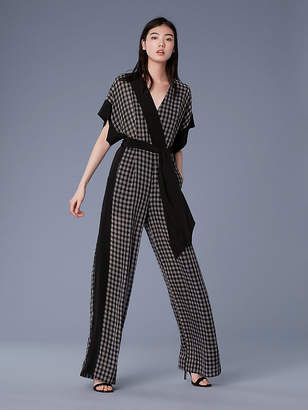 Diane von Furstenberg Short-Sleeve Faux Wrap Jumpsuit