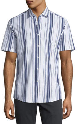 Salvatore Ferragamo Men's Multi-Striped Short-Sleeve Sport Shirt