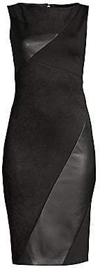Donna Karan Women's Faux Leather Paneled Sheath Dress - Size 0