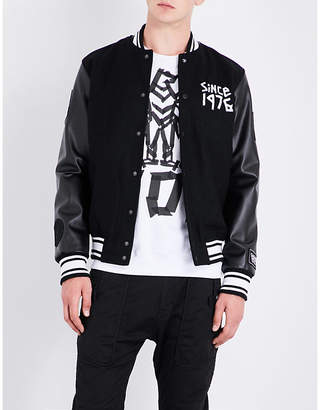 Boy London Eagle tape-print wool-blend bomber jacket