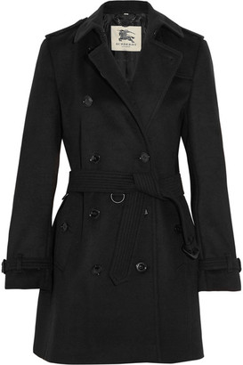Burberry - The Kensington Mid Wool And Cashmere-blend Trench Coat - Black $2,195 thestylecure.com