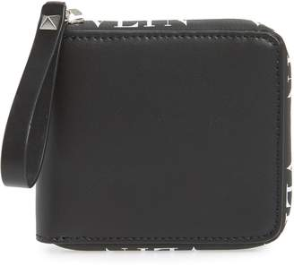 Valentino Logo Zip Leather Wallet