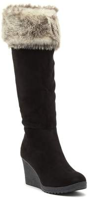 Wild Diva Lounge Selina Faux Fur and Suede Wedge Boot