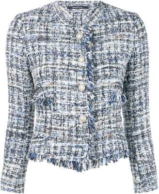 Tagliatore fringed tweed jacket