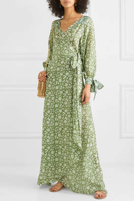 Hannah Artwear - Lunar Floral-print Silk Crepe De Chine Wrap Maxi Dress - Green