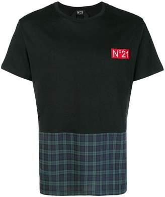 No.21 check panel T-shirt