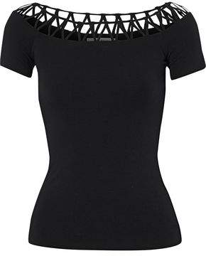 Bailey 44 Lattice-Trimmed Ribbed-Knit Top