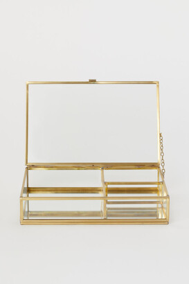 H&M Clear Glass Jewelry Box - Gold