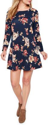 R & K Originals Long Sleeve Floral A-Line Dress-Petite