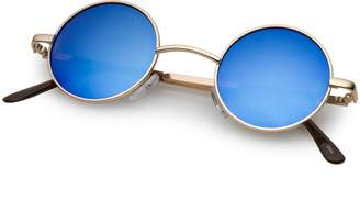 Zerouv Lennon Style Small Round Circle Sunglasses for Men with Color Mirrored Lens (Gold/Ice)