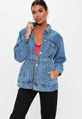 cee1b3599a81e Missguided Light Blue Wash Long Belted Denim Jacket