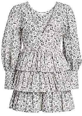 LoveShackFancy Women's Paris Dandelion-Print Puff-Sleeve Mini A-Line Dress