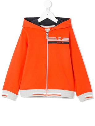Emporio Armani Kids colour-block zip-up hoodie