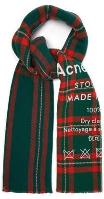 Acne Studios Cassiar Logo Print Check Wool Scarf - Womens - Green