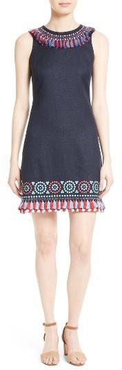 Kate SpadeWomen's Kate Spade New York Embroidered Tassel Sheath Dress