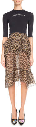 Balenciaga Leopard-Print Ruffled Skirt with Logo Sport Top Dress