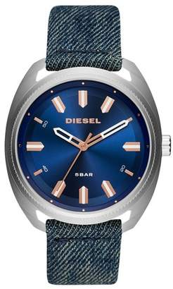 Diesel R) Fastbak Denim Strap Watch, 46mm x 52mm