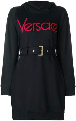 Versace belted logo dress