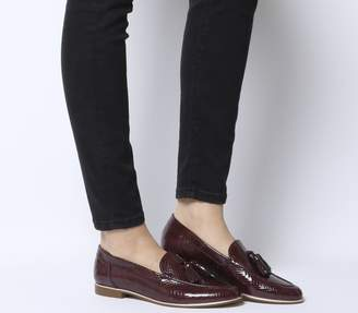 3d05b120027 Office Retro Tassel Loafers Burgundy Snake Leather With Rose Gold Rand