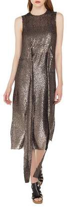 Akris Sleeveless Self-Belt A-Line Metallic Silk Dévoré Cocktail Dress