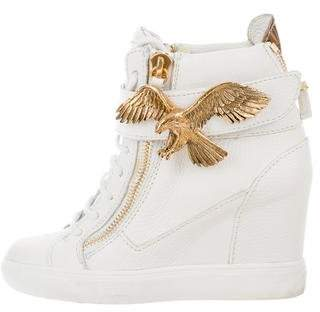Giuseppe Zanotti Leather Eagle Wedge Sneakers
