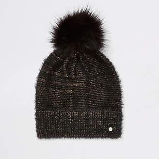 River Island Womens Black gold threaded faux fur beanie hat