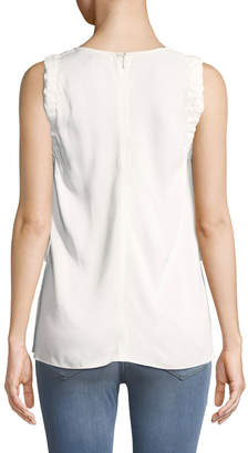 Tahari ASL Sleeveless Ruffle Tank with Ties