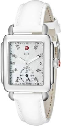 Michele Women's MWW06V000012 Deco 16 Analog Display Swiss Quartz White Watch