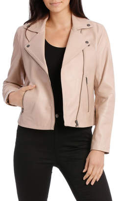 Leather Jacket with Zip and pockets