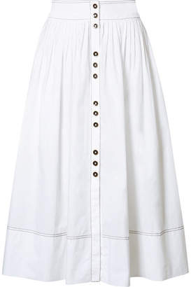 Ulla Johnson Katriane Pleated Cotton-poplin Midi Skirt - White