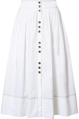 Ulla Johnson Katriane Pleated Cotton-poplin Midi Skirt - White
