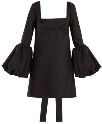 Valentino Bell Sleeve Silk Crepe Dress - Womens - Black