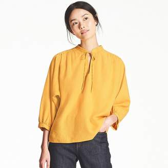 Uniqlo WOMEN Linen Blended Gathered 3/4 Sleeve Blouse