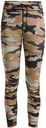 The Upside Striped camouflage-print cropped leggings