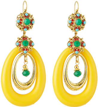 Jose & Maria Barrera Lucite® Hoop Drop Earrings, Yellow