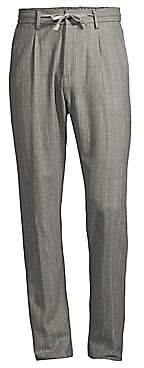Eleventy Men's Raised Boucle Chalk Stripe Pants