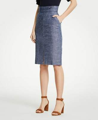 Ann Taylor Petite Chambray Pencil Skirt