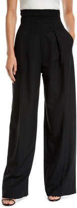 Sara Battaglia High-Waisted Wide-Leg Pants