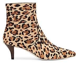 Loeffler Randall Women's Kassidy Leopard-Print Calf-Hair Kitten Booties