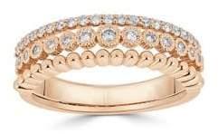 Saks Fifth Avenue Diamond and 18K Rosegold Three-Row Ring