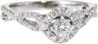 One Kings Lane Vintage Diamond Halo Engagement Ring White Gold - Precious & Rare Pieces