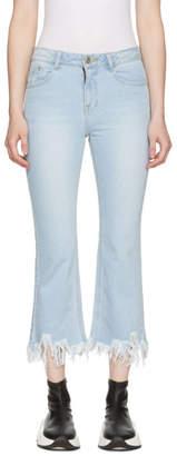 Sjyp Blue Ripped Hem Jeans