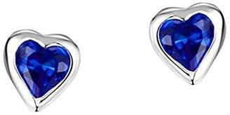 Jo for Girls Sterling Silver and Dark Blue Cubic Zirconia Heart Stud Earrings