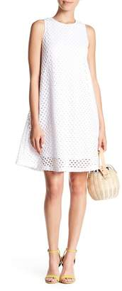Sharagano Eyelet Lace A-Line Dress (Petite)