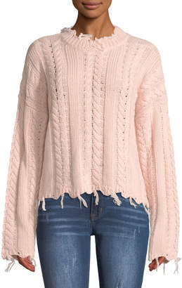 Moon River Frayed Cable-Knit Crewneck Sweater