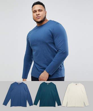 Asos DESIGN Plus long sleeve t-shirt with crewneck 3 pack SAVE