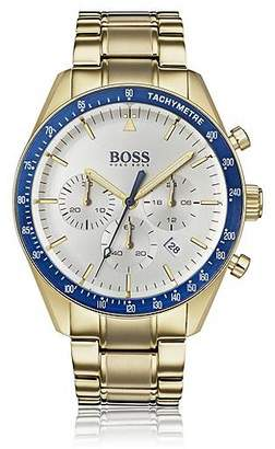 HUGO BOSS Yellow-gold-plated chronograph watch with blue bezel