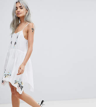 Asos DESIGN PETITE Floral Cross Stitch Embroidered Strappy Beach Sundress